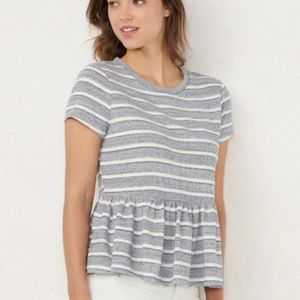 NWT Lauren Conrad Blue & White Striped Peplum Tee